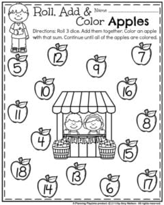 Back to School First Grade Worksheets - Roll, Add and Color 3 Addend Addition.