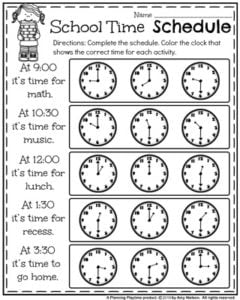 Back to School First Grade Worksheets - School Time Schedule telling time worksheet.