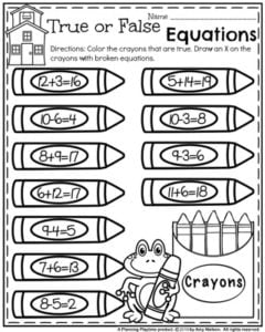 Back to School First Grade Worksheets - True or False Equations Crayons.