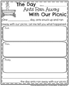 Back to School Narrative Writing Prompts - The Day the Ants ran Away with our Picnic.