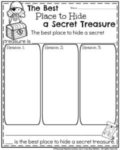Back to School Opinion Writing Prompts - The Best Place to Hide a Secret Treasure.