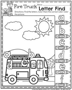 Back to School Preschool Worksheets - Alphabet Fire Truck Letter Find.