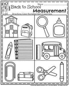 Back to School Preschool Worksheets - Measurement.