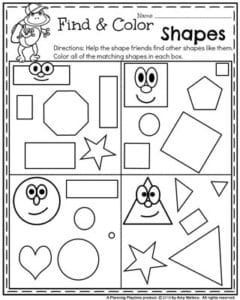 Back to School Preschool Worksheets - Find and Color Shapes.