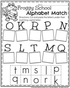 Back to School Preschool Worksheets - Froggy School Alphabet Match II