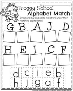Back to School Preschool Worksheets - Froggy School Alphabet Match.