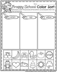 back to school preschool worksheets  planning playtime back to school preschool worksheets  froggy school color sort