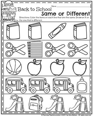 Back to School Preschool Worksheets - Same or Different.