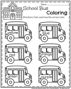 Back to School Preschool Worksheets - School Bus Coloring.