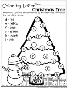 christmas tree coloring pages for preschoolers | December Preschool Worksheets - Planning Playtime