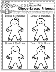 Winter Preschool Worksheets - Gingerbread Friends Count and Decorate.