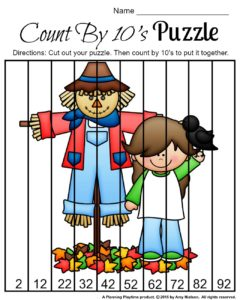 FREE Fall Skip Counting Puzzles for Kindergarten or First Grade - Skip counting by 10s.