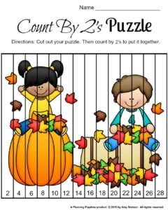 FREE Fall Skip Counting Puzzles for kindergarten and first grade.