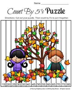 FREE Fall Skip Counting Puzzles - Count by 5s.