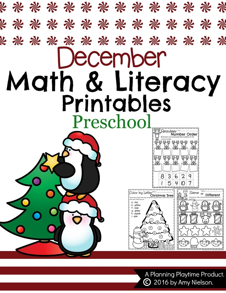 December Preschool Worksheets - Planning Playtime