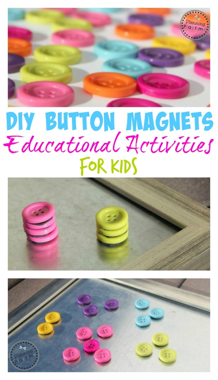 DIY Button Magnet Craft and Educational Toy for kids.