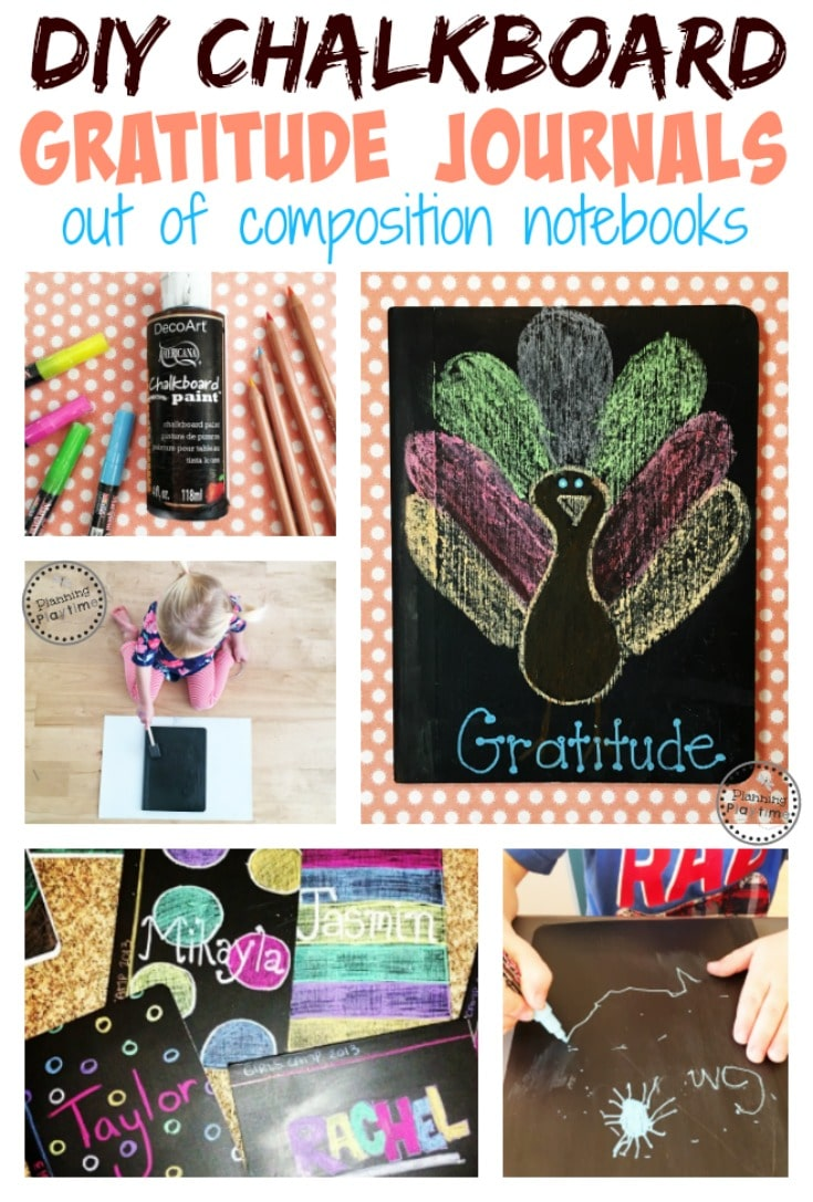 DIY Chalkboard Gratitude Journals out of Composition Notebooks - Awesome for November or anytime.
