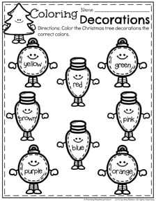 Preschool Christmas Worksheets - Tree Ornament Colors.