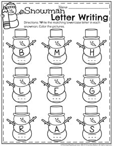 Winter Preschool Worksheets - Snowman Letter Recognition and Writing page.