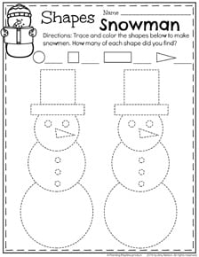 Preschool Shapes Worksheet - Winter Snowman trace and count.