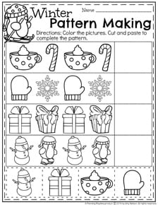 December Preschool Worksheets - Complete the Winter Patterns.