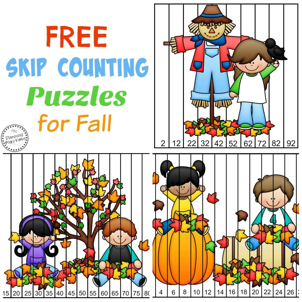 FREE Skip Counting Puzzles for Fall - Count by 2's, 5's, and 10s.