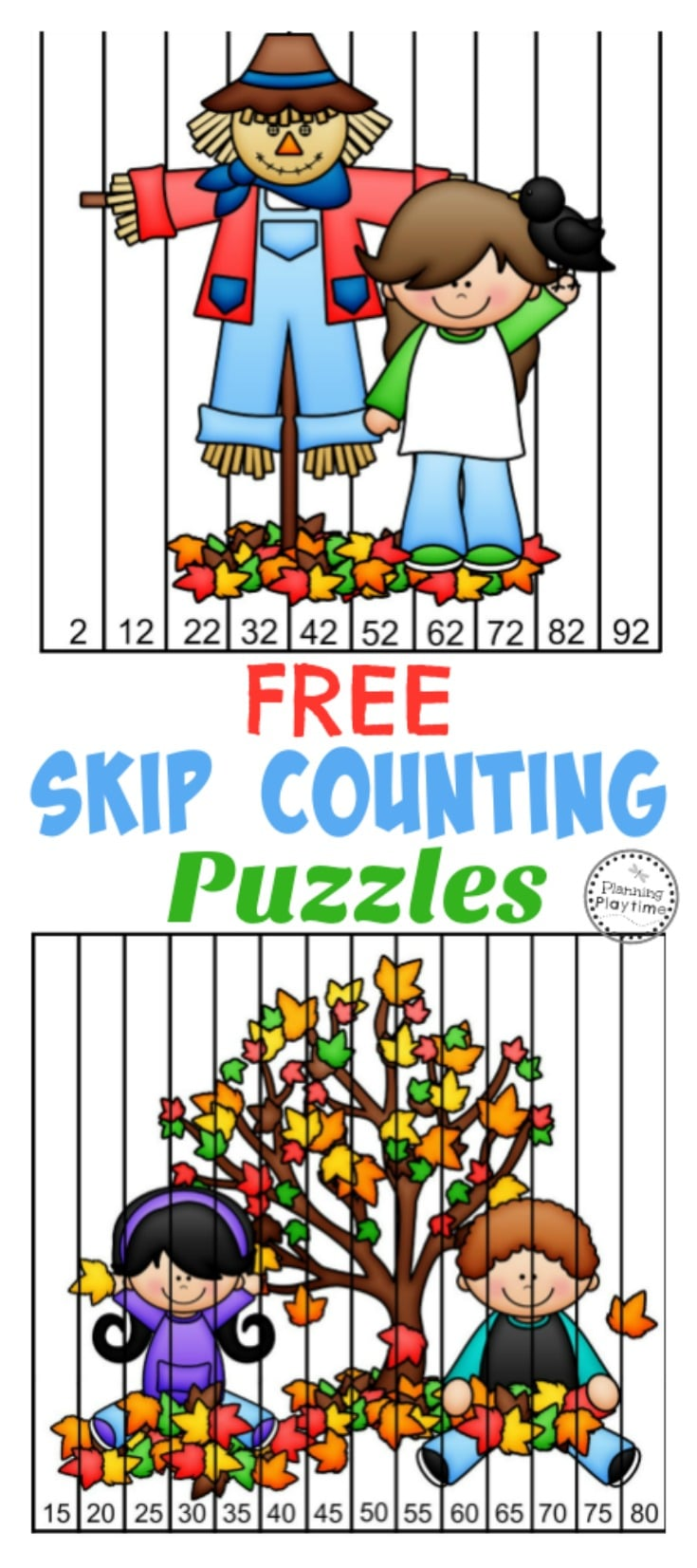 FREE Skip Counting Puzzles for Fall. Great for Kindergarten and First Grade.