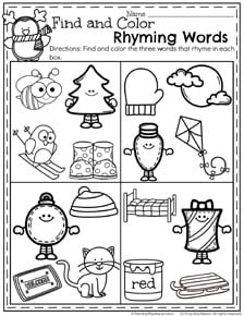 December Preschool Worksheets - Find and Color Rhyming Words.