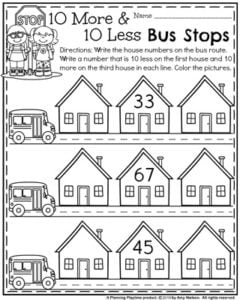 First Grade Back to School Worksheet 10 more 10 less Bus Stops.
