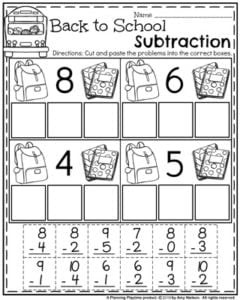 back to school first grade worksheets  planning playtime first grade math worksheets  subtraction cut and paste