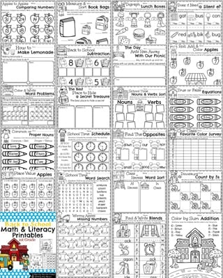 Back to School First Grade Worksheets - Lots of fun first grade activities.