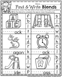 First Grade Worksheets for Back to School - Find and Write Blends.