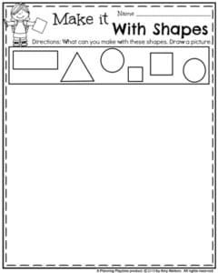 First Grade Worksheets for Back to School - Make it with Shapes Geometry Worksheet.