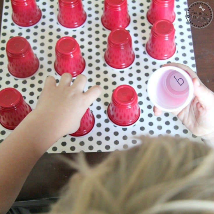 Mini Cup Memory Reading Game or Letter Matching Game for Preschoolers.