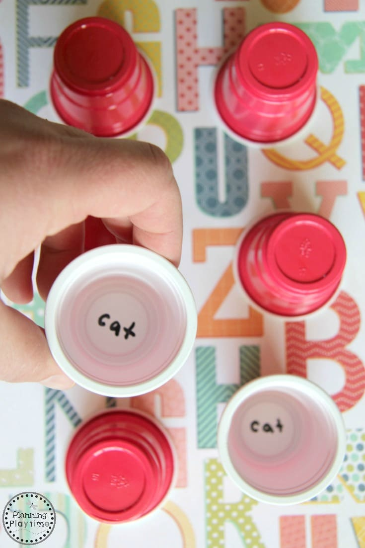 Mini Cup Memory Reading Game or Letter Matching Game.