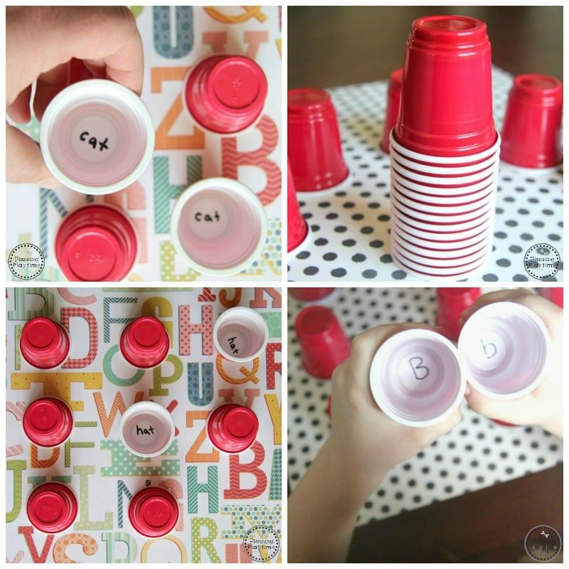 Mini Cup Memory Reading Game with CVC Words or Upper Lowercase letter matching.