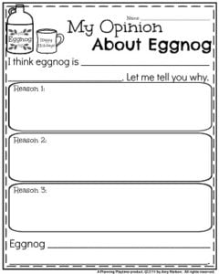 Opinion Writing Prompts for December - My Opinion About Eggnog.