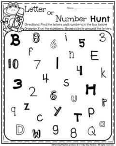 Preschool Back to School Worksheets - Letter or Number Hunt.