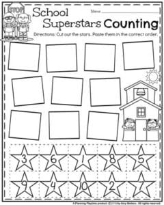 Preschool Counting Worksheets for Back to School.