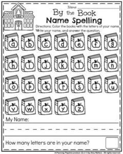 Preschool Name Worksheet for Back to School.