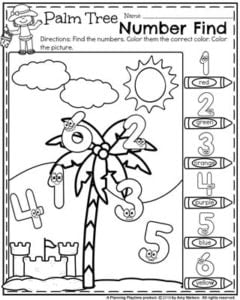 Preschool Worksheets - Number Tree number recognition and coloring.