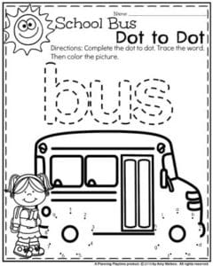 Preschool Worksheets - School Bus Dot to Dot.