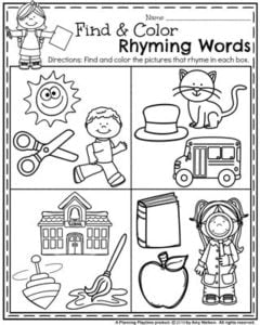 Preschool Worksheets for Back to School - Find and Color Rhyming Words.