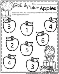 Preschool Worksheets for Back to School - Roll, Count and Color Apples.