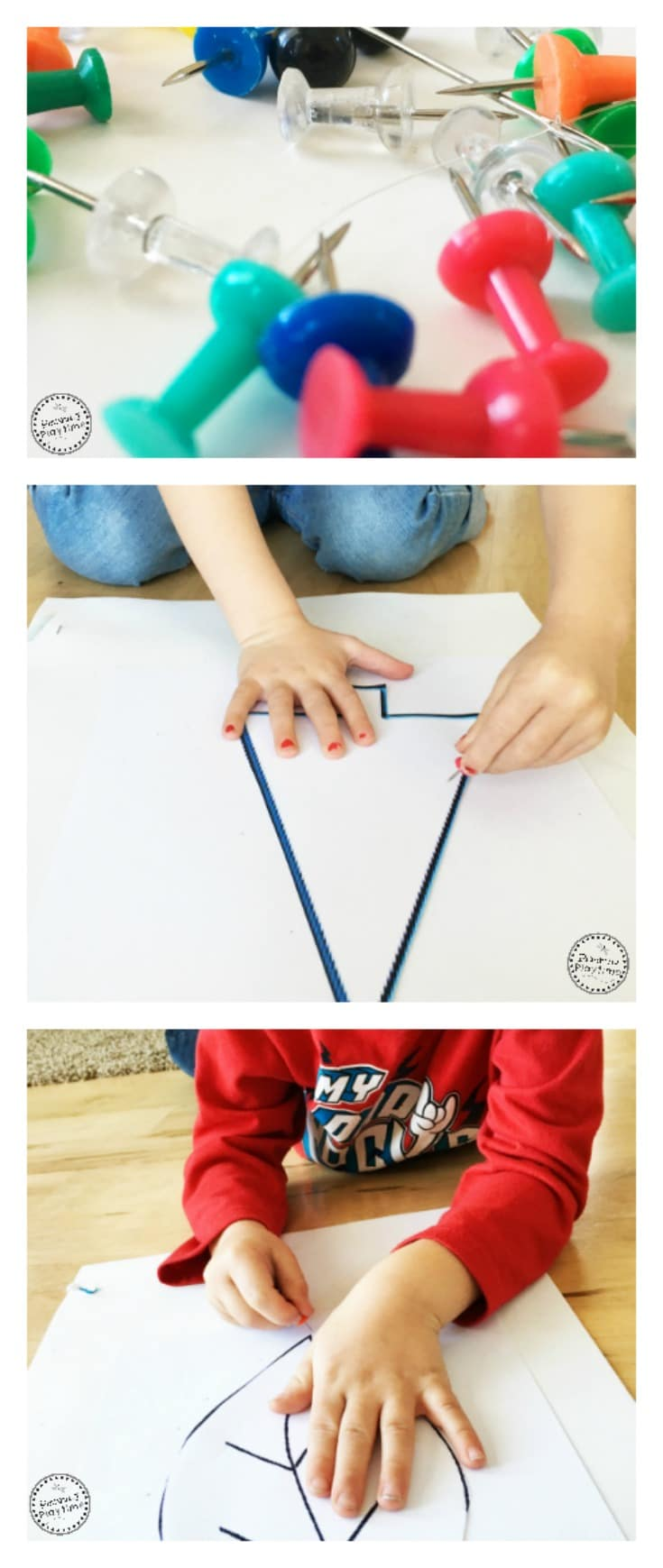 Safety Pin Silhouettes Activity - Fun fine motor and tracing practice.