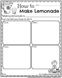 First Grade Writing Prompts for Back to school - How to Make Lemonade Informative Writing Prompt.