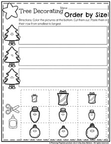 Preschool Worksheets for December - Sort by size cut and paste.