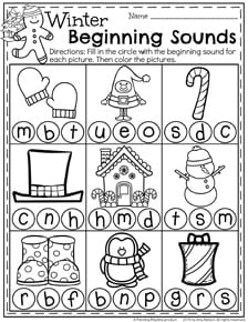 December Preschool Worksheets - Beginning Sounds