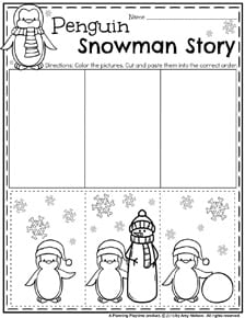 Preschool Sequence Worksheet for Winter - Penguin's Snowman Story.