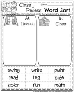 First Grade Literacy Worksheets for Back to School - Class or Recess Word Sort.